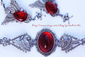 Ruby red winged set by Pinkabsinthe