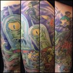 My leg tattoo of The Simpsons halloween characters by xmaryxedgex