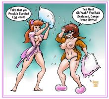 Daphne and Velma Pillow Fight by MJBivouac