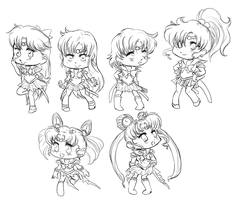 SailorMoon Chibis Lineart by ARTofWrath