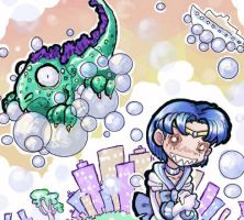 Sailor Mercury vs. Godzilla by Thinston