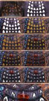 Stages of drawing the stasis pods by exobiology