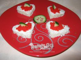 Red caviar canapes by DanutzaP