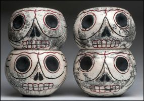 My Raku Fired Skull Vessels by Lymanjames