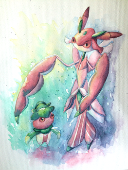 Lurantis and Fomantis by Leafwhisper44