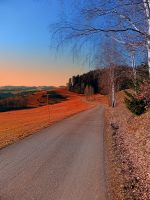 Country road with beautiful sunset by patrickjobst