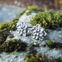 Tiny Succulents - Fine Silver Studs by QuintessentialArts