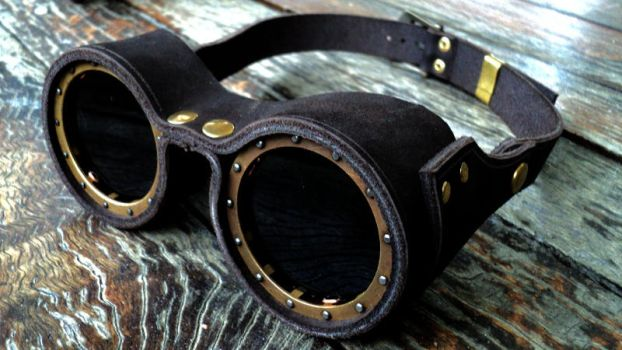 Leather n brass goggles by inkfeather