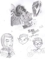 TEEN TITANS: Sketch page by witchiamwill