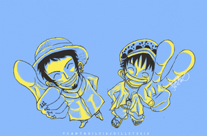 Law and Luffy by V-Cantabile