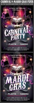 Carnival n Mardi Gras Party Flyer by Hotpindesigns