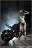 Dieselpunk Gynoid and the Robobike by VictoriaGugenheim