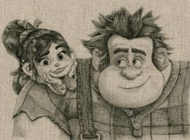 Wreck-It Ralph and Vanellope Fabric Drawing by daphnetails