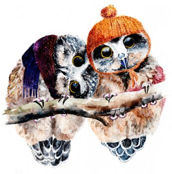 Winter Owls by AnnaShell
