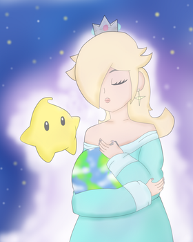 Rosalina Hugging the Planet Earth by DarkraDx