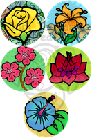 Completed Flower Set by Izit-Sama