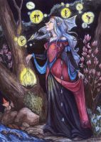 willow wisp and Elf by LMMegyesi