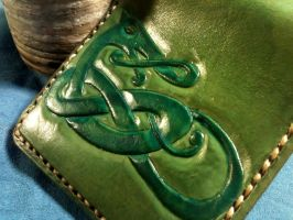 Celtic Knotwork Wallet, Green, Viking, Norse by WorldofLeathercraft