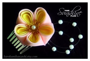 Pink Sunshine Plum - SOLD by Kurokami-Kanzashi