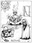 Halloween alphabet themed coloring book page by mustacherozo