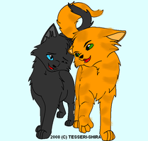 Firestar and Cinderpelt by OneBangBeauty