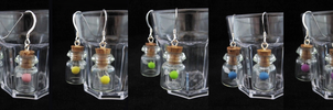 Fairy Bottle Earrings Colors 2 by egyptianruin