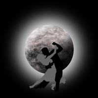 Moon with couple dancing silhouette by Viktoria-Lyn