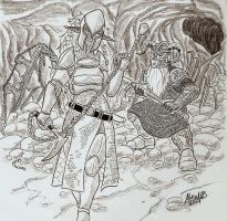 Drow and Dwarf duel by Shabazik
