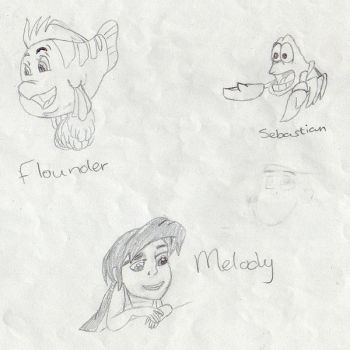 Flounder, Sebastian and Melody by stitchcountry