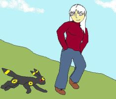 My PKMN OC walking Snow the umbreon for Aaron by SECRET-NINJA-SUPER-M