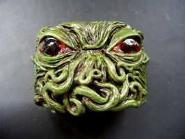 Cthulhu polymer clay cuff bracelet 2 by dogzillalives