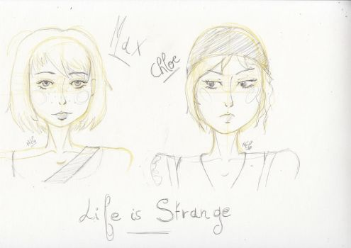 Max and Chloe from Life is Strange, sketch by KetsuekiHime