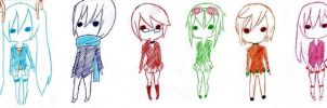 Vocaloid Chibi Lineup by pepsicolatier