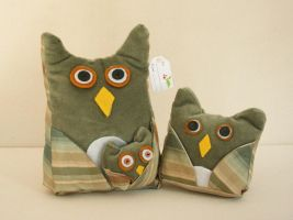 Green and Tan Owl Trio - Handmade Plush Owl Set by nondecaf