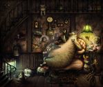 Evening With Cat Family by Anuk