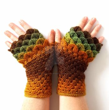 Timber Dragon Gloves by FearlessFibreArts