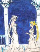 Queen and Princess Serenity by moonlightkisu