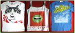 Hand-painted T-shirts: Big Cat, Lips, Driving Cat by Arferia