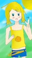 .: Kagamine Rin Sunny day [Art trade] :. by XTheGoldenAppleX