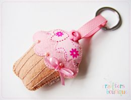 Pink Cupcake key chain by bibiluv