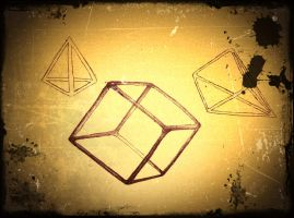 Cube, pyramid and tetraeder by Abstract-scientist