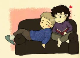 Cuddling on the couch by naripolpetta