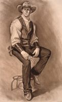 Cowboy figure drawing by infernovball