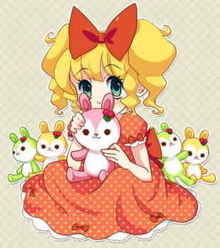 Girl and bunnies by Iris-Zeible