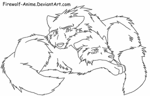 Wolf Comfort - LineArt by Firewolf-Anime