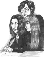 Severus Studying with James and Lily by Atanapotnia