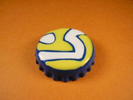 Blue, yellow and white badge. by elniniodelaschapas