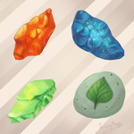 Evolution stones: Fire, Water, Thunder, and Leaf by KrisseyMage