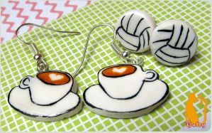 Coffee and Volleyball Earrings by Talty