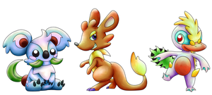 Fakemon Starters Requested by CrimsonVampiress by Justsomefandomfan